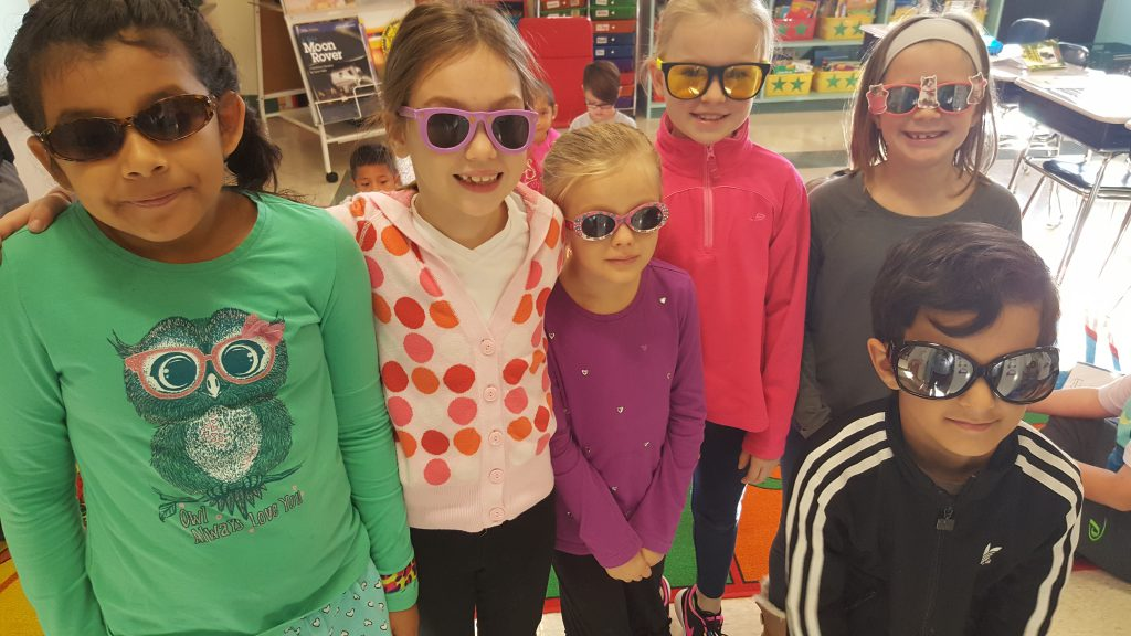 "These 2nd graders were all decked out in the crazy shades for ""Crazy Cool Sunglasses Day!"""